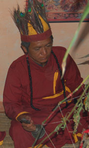 Magar Shaman performing Guru Puja